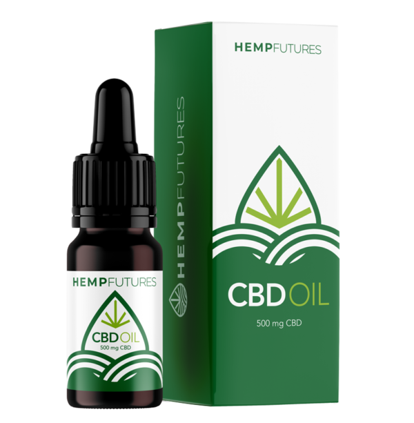 Bottle and packaging of our CBD Oil 500mg also known as CBD Oil 5% concentration, available to buy in UK, Germany, Netherlands, Poland, Estonia, Spain and many other European countries