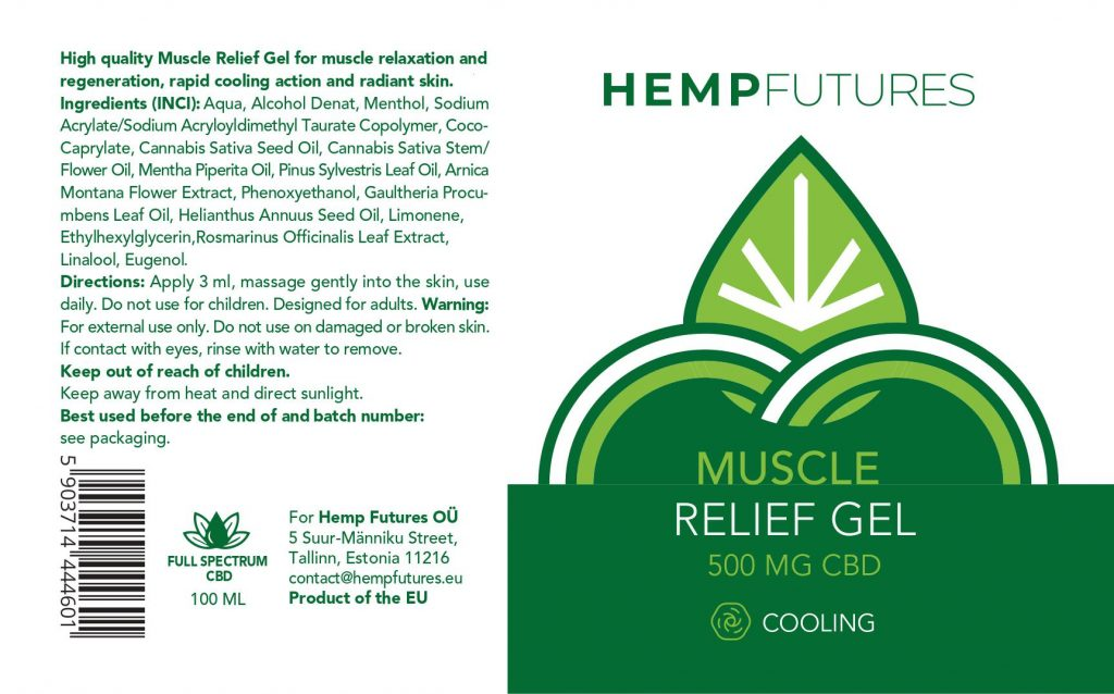 CBD Muscle Relief Cooling Gel 500mg