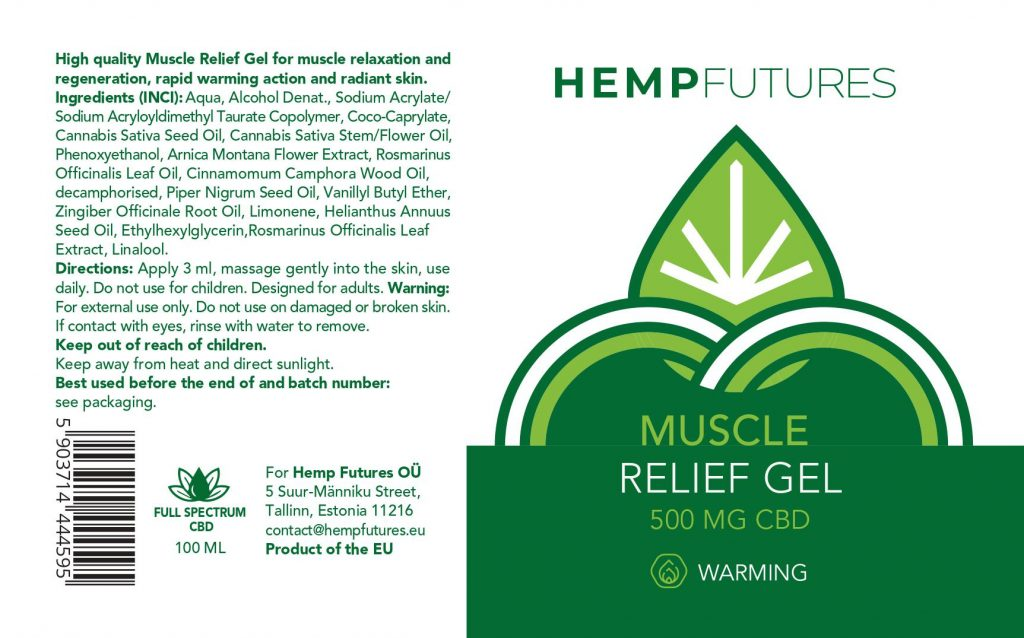 CBD Muscle Relief Warming Gel 500mg